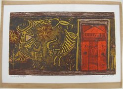 John Livingston Ihle (American, 1925-2002). <em>The Orange Temple</em>, 1950. Etching in color on wove paper with paper frame mounted on it, Sheet: 10 1/16 x 15 in. (25.6 x 38.1 cm). Brooklyn Museum, Dick S. Ramsay Fund, 52.22. © artist or artist's estate (Photo: Brooklyn Museum, CUR.52.22.jpg)