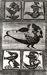 Hans Oswald (Swedish). <em>Birds and Fish</em>, 1952. Woodcut on thin Japan paper, 16 13/16 x 10 3/8 in. (42.7 x 26.3 cm). Brooklyn Museum, A. Augustus Healy Fund, 53.168.19. © artist or artist's estate (Photo: Brooklyn Museum, CUR.53.168.19.jpg)