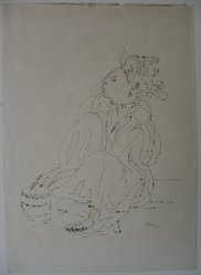 Peter Takal (American, born Romania, 1905-1995). <em>Morrocan Girl with Drum</em>, 1938. Pen and ink with touches of watercolor on paper, sheet: 18 3/4 x 13 5/16 in. (47.6 x 33.8 cm). Brooklyn Museum, Dick S. Ramsay Fund, 54.138.1. © artist or artist's estate (Photo: Brooklyn Museum, CUR.54.138.1.jpg)