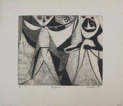 Michael F. Podulke. <em>Pagliacci</em>, 1950. Etching on paper, sheet: 15 1/2 x 17 11/16 in. (39.4 x 44.9 cm). Brooklyn Museum, Anonymous gift, 54.152. © artist or artist's estate (Photo: Brooklyn Museum, CUR.54.152.jpg)