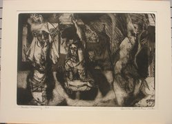 Harvey Litvack. <em>Good Morning</em>, 1952. Etching on paper, image: 12 1/8 x 17 1/2 in. (30.8 x 44.5 cm). Brooklyn Museum, Dick S. Ramsay Fund, 54.87. © artist or artist's estate (Photo: , CUR.54.87.jpg)