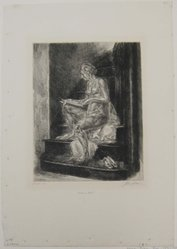 John Sloan (American, 1871-1951). <em>Nude on Stairs</em>, 1930. Etching on wove paper, image: 9 13/16 x 7 7/8 in. (25 x 20 cm). Brooklyn Museum, Dick S. Ramsay Fund, 58.9.1. © artist or artist's estate (Photo: Brooklyn Museum, CUR.54.9.1.jpg)