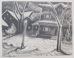 Wanda Gág (American, 1893-1946). <em>Wagon House</em>, 1929. Lithograph on white wove paper, 4 5/8 x 6 3/4 in. (11.7 x 17.1 cm). Brooklyn Museum, Gift of Erhart Weyhe, 56.4.34. © artist or artist's estate (Photo: Brooklyn Museum, CUR.56.4.34.jpg)