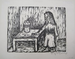 Rufino Tamayo (Mexican, 1899-1991). <em>Woman Standing Beside Table</em>, 1935. Woodcut on paper, 7 3/8 x 9 1/2 in. (18.7 x 24.1 cm). Brooklyn Museum, Gift of Erhart Weyhe, 56.4.56. © artist or artist's estate (Photo: Brooklyn Museum, CUR.56.4.56.jpg)