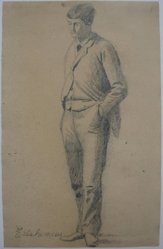 Louis Michel Eilshemius (American, 1864-1942). <em>Man Standing with Hands in His Pockets</em>, n.d. Graphite on paper, Sheet: 9 1/8 x 5 13/16 in. (23.2 x 14.8 cm). Brooklyn Museum, Gift of Louise Nevelson, 57.127.2. © artist or artist's estate (Photo: Brooklyn Museum, CUR.57.127.2.jpg)