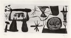 Joan Miró (Spanish, 1893-1983). <em>Personnage</em>, ca. 1940. Intaglio on imperial Japan paper, 5 5/16 x 12 3/16 in. (13.5 x 31 cm). Brooklyn Museum, Charles Stewart Smith Memorial Fund, 57.191.1. © artist or artist's estate (Photo: Brooklyn Museum, CUR.57.191.1.jpg)