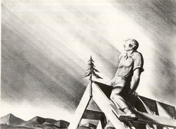Rockwell Kent (American, 1882-1971). <em>Rooftree</em>, 1928. Lithograph (crayon) on wove paper, Sheet: 13 3/4 x 17 in. (34.9 x 43.2 cm). Brooklyn Museum, Gift of Mrs. Donald M. Oenslager, 60.186. © artist or artist's estate (Photo: Brooklyn Museum, CUR.60.186.jpg)