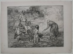 George Renouard (American, 1855-1954). <em>Family in the Field</em>, n.d. Etching (and drypoint?) on paper, sheet: 7 9/16 x 10 1/4 in. (19.2 x 26 cm). Brooklyn Museum, Gift of Harold W. Walker, 61.38.1. © artist or artist's estate (Photo: Brooklyn Museum, CUR.61.38.1.jpg)