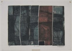 Bernard Rosenquit (American, born 1923). <em>The Secret</em>, 1923. Etching with color on wove paper, image: 4 15/16 x 6 7/8 in. (12.5 x 17.5 cm). Brooklyn Museum, Dick S. Ramsay Fund, 62.57.2. © artist or artist's estate (Photo: Brooklyn Museum, CUR.62.57.2.jpg)