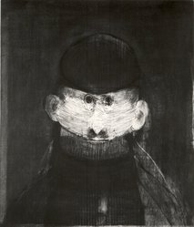 Mauricio Lasansky (American, born Argentina, 1914-2012). <em>Portrait of an Artist</em>, 1961. Etching in black and brown ink on wove paper, Plate: 20 x 11 7/8 in. (50.8 x 30.2 cm). Brooklyn Museum, Dick S. Ramsay Fund, 62.84. © artist or artist's estate (Photo: Brooklyn Museum, CUR.62.84.jpg)