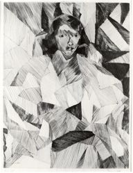 Jacques Villon (French, 1875-1963). <em>Yvonne D. from the Front (Yvonne D. de face)</em>, 1913. Drypoint on Arches paper, 21 7/8 x 16 5/16 in. (55.5 x 41.5 cm). Brooklyn Museum, Caroline A.L. Pratt Fund, 63.11. © artist or artist's estate (Photo: Brooklyn Museum, CUR.63.11.jpg)