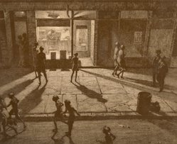 Martin Lewis (American, born Australia, 1883-1962). <em>Spring Night, Greenwich Village</em>, 1930. Drypoint and sand ground on paper, sheet: 13 3/8 x 15 3/4 in. (34 x 40 cm). Brooklyn Museum, Gift of Mrs. Dudley Nichols in memory of her husband, 63.204.11. © artist or artist's estate (Photo: Brooklyn Museum, CUR.63.204.11.jpg)