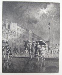 Martin Lewis (American, born Australia, 1883-1962). <em>Break in the Thunderstorm</em>, 1930. Etching on paper, sheet: 15 15/16 x 13 7/16 in. (40.5 x 34.1 cm). Brooklyn Museum, Gift of Mrs. Dudley Nichols in memory of her husband, 63.204.14. © artist or artist's estate (Photo: Brooklyn Museum, CUR.63.204.14.jpg)