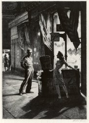 Martin Lewis (American, born Australia, 1883-1962). <em>Chance Meeting</em>, ca. 1941. Drypoint on paper, image: 10 1/2 x 7 3/8 in. (26.7 x 18.7 cm). Brooklyn Museum, Gift of Mrs. Dudley Nichols in memory of her husband, 63.204.15. © artist or artist's estate (Photo: Brooklyn Museum, CUR.63.204.15.jpg)