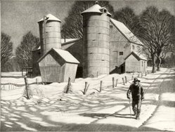Martin Lewis (American, born Australia, 1883-1962). <em>Gran'pa Takes a Walk</em>, ca. 1940. Etching and aquatint on paper, sheet: 12 3/8 x 16 7/16 in. (31.4 x 41.8 cm). Brooklyn Museum, Gift of Mrs. Dudley Nichols in memory of her husband, 63.204.19. © artist or artist's estate (Photo: Brooklyn Museum, CUR.63.204.19.jpg)