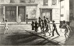 Martin Lewis (American, born Australia, 1883-1962). <em>Bedford Street Gang</em>, 1936. Drypoint and sandpaper ground, sheet: 13 x 18 1/16 in. (33 x 45.9 cm). Brooklyn Museum, Gift of Mrs. Dudley Nichols in memory of her husband, 63.204.2. © artist or artist's estate (Photo: Brooklyn Museum, CUR.63.204.2.jpg)