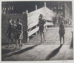 Martin Lewis (American, born Australia, 1883-1962). <em>Fifth Avenue Bridge</em>, 1928. Drypoint on paper, sheet: 13 7/16 x 15 1/2 in. (34.1 x 39.4 cm). Brooklyn Museum, Gift in memory of Dudley Nichols, 63.204.20. © artist or artist's estate (Photo: Brooklyn Museum, CUR.63.204.20.jpg)