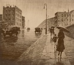 Martin Lewis (American, born Australia, 1883-1962). <em>Rainy Day, Queens</em>, 1931. Drypoint on paper, image: 10 5/8 x 11 7/8 in. (27 x 30.2 cm). Brooklyn Museum, Gift of Mrs. Dudley Nichols in memory of her husband, 63.204.22. © artist or artist's estate (Photo: Brooklyn Museum, CUR.63.204.22.jpg)