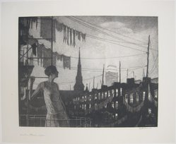 Martin Lewis (American, born Australia, 1883-1962). <em>Glow of the City</em>, 1929. Drypoint on paper, sheet: 14 3/4 x 18 1/16 in. (37.5 x 45.9 cm). Brooklyn Museum, Gift of Mrs. Dudley Nichols in memory of her husband, 63.204.27. © artist or artist's estate (Photo: Brooklyn Museum, CUR.63.204.27.jpg)