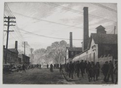 Martin Lewis (American, born Australia, 1883-1962). <em>Day's End</em>, 1937. Etching on paper, sheet: 13 1/2 x 17 7/16 in. (34.3 x 44.3 cm). Brooklyn Museum, Gift of Mrs. Dudley Nichols in memory of her husband, 63.204.29. © artist or artist's estate (Photo: Brooklyn Museum, CUR.63.204.29.jpg)