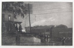 Martin Lewis (American, born Australia, 1883-1962). <em>Passing Freight Train</em>, 1934. Etching on paper, sheet: 12 1/2 x 17 7/8 in. (31.8 x 45.4 cm). Brooklyn Museum, Gift of Mrs. Dudley Nichols in memory of her husband, 63.204.3. © artist or artist's estate (Photo: Brooklyn Museum, CUR.63.204.3.jpg)