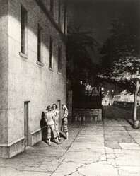 Martin Lewis (American, born Australia, 1883-1962). <em>The Dispute</em>, n.d. Etching and aquatint on paper, image: 14 7/8 x 11 7/8 in. (37.8 x 30.2 cm). Brooklyn Museum, Gift of Mrs. Dudley Nichols in memory of her husband, 63.204.30. © artist or artist's estate (Photo: Brooklyn Museum, CUR.63.204.30.jpg)