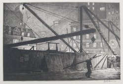 Martin Lewis (American, born Australia, 1883-1962). <em>Derricks at Night</em>, 1927. Etching on paper, sheet: 11 1/2 x 15 1/2 in. (29.2 x 39.4 cm). Brooklyn Museum, Gift of Mrs. Dudley Nichols in memory of her husband, 63.204.31. © artist or artist's estate (Photo: Brooklyn Museum, CUR.63.204.31.jpg)