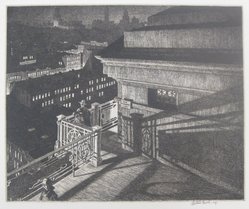 Martin Lewis (American, born Australia, 1883-1962). <em>East - Side Night (Williamsburg Bridge)</em>, 1928. Etching and drypoint on paper, sheet: 12 1/16 x 15 3/8 in. (30.6 x 39.1 cm). Brooklyn Museum, Gift of Mrs. Dudley Nichols in memory of her husband, 63.204.34. © artist or artist's estate (Photo: Brooklyn Museum, CUR.63.204.34.jpg)