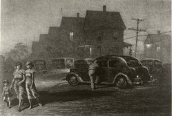 Martin Lewis (American, born Australia, 1883-1962). <em>The Parking Lot</em>, ca. 1942. Lithograph on paper, sheet: 12 5/8 x 18 3/8 in. (32.1 x 46.7 cm). Brooklyn Museum, Gift of Mrs. Dudley Nichols in memory of her husband, 63.204.38. © artist or artist's estate (Photo: Brooklyn Museum, CUR.63.204.38.jpg)