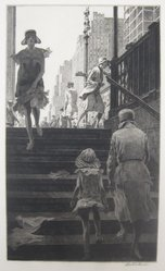 Martin Lewis (American, born Australia, 1883-1962). <em>Subway Steps</em>, 1930. Etching and drypoint on paper, sheet: 17 7/16 x 11 in. (44.3 x 27.9 cm). Brooklyn Museum, Gift of Mrs. Dudley Nichols in memory of her husband, 63.204.9. © artist or artist's estate (Photo: Brooklyn Museum, CUR.63.204.9.jpg)