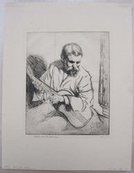 Arthur William Heintzelman (American, 1891-1965). <em>Guitar Player</em>. Etching on paper, Sheet: 13 1/16 x 10 1/16 in. (33.2 x 25.6 cm). Brooklyn Museum, Gift of The Louis E. Stern Foundation, Inc., 64.101.196. © artist or artist's estate (Photo: Brooklyn Museum, CUR.64.101.196.jpg)