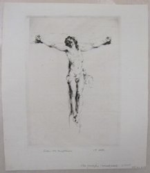 Arthur William Heintzelman (American, 1891-1965). <em>Small Crucifix</em>. Drypoint, Sheet: 10 7/16 x 9 1/16 in. (26.5 x 23 cm). Brooklyn Museum, Gift of The Louis E. Stern Foundation, Inc., 64.101.219. © artist or artist's estate (Photo: Brooklyn Museum, CUR.64.101.219.jpg)