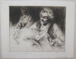 Arthur William Heintzelman (American, 1891-1965). <em>L'Accordioniste</em>. Drypoint, Sheet: 6 9/16 x 8 7/16 in. (16.7 x 21.4 cm). Brooklyn Museum, Gift of The Louis E. Stern Foundation, Inc., 64.101.225. © artist or artist's estate (Photo: Brooklyn Museum, CUR.64.101.225.jpg)