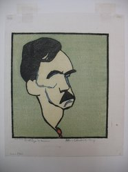 William Auerbach-Levy (American, 1889-1964). <em>Eugene O'Neill</em>. Color woodcut, Sheet: 12 5/8 x 10 9/16 in. (32.1 x 26.8 cm). Brooklyn Museum, Gift of The Louis E. Stern Foundation, Inc., 64.101.265. © artist or artist's estate (Photo: Brooklyn Museum, CUR.64.101.265.jpg)