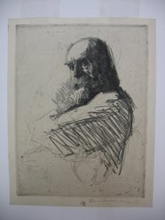 William Auerbach-Levy (American, 1889-1964). <em>Professor B</em>. Soft ground etching, Sheet: 10 1/4 x 7 15/16 in. (26 x 20.2 cm). Brooklyn Museum, Gift of The Louis E. Stern Foundation, Inc., 64.101.269. © artist or artist's estate (Photo: Brooklyn Museum, CUR.64.101.269.jpg)