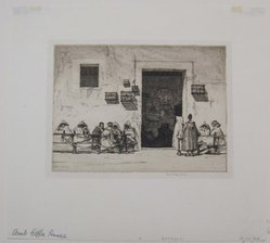 Louis Conrad Rosenberg (American, born 1890). <em>Arab Coffee House</em>, 1925. Etching on wove paper, image: 5 13/16 x 8 9/16 in. (14.8 x 21.7 cm). Brooklyn Museum, Gift of The Louis E. Stern Foundation, Inc., 64.101.300. © artist or artist's estate (Photo: Brooklyn Museum, CUR.64.101.300.jpg)