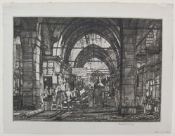 Louis Conrad Rosenberg (American, born 1890). <em>The Grand Bazaar</em>, 1927. Drypoint on laid paper, image: 7 5/16 x 11 1/4 in. (18.5 x 28.5 cm). Brooklyn Museum, Gift of The Louis E. Stern Foundation, Inc., 64.101.301. © artist or artist's estate (Photo: Brooklyn Museum, CUR.64.101.301.jpg)