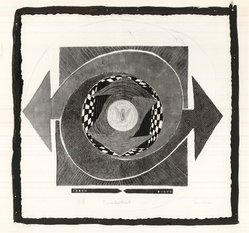 Michael Ponce de Leon (American, 1922-2006). <em>Countertrust</em>, 1965. Collage intaglio in color on handmade paper, Sheet: 25 3/4 x 26 3/4 in. (65.4 x 67.9 cm). Brooklyn Museum, Dick S. Ramsay Fund, 65.215. © artist or artist's estate (Photo: Brooklyn Museum, CUR.65.215.jpg)