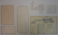 Louise Nevelson (American, born Russia, 1899-1988). <em>Sketch Panel</em>, 1950s. Graphite with touches of ink on different papers mounted to mat board, Sheet (mat board): 32 1/8 x 13 1/8 in. (81.6 x 33.3 cm). Brooklyn Museum, Gift of Louise Nevelson, 65.22.33a-j. © artist or artist's estate (Photo: Brooklyn Museum, CUR.65.22.33a-j_component_a-f.jpg)