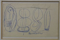 "Louise Nevelson (American, born Russia, 1899-1988). <em>Sketch Panel ""VIII,""</em> n.d. Graphite and ball-point ink on paper mounted to mat, Sheet (a): 2 1/16 x 3 7/16 in. (5.2 x 8.7 cm). Brooklyn Museum, Gift of Louise Nevelson, 65.22.37. © artist or artist's estate (Photo: Brooklyn Museum, CUR.65.22.37_component_a.jpg)"