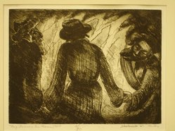 Shulamith Wittenberg Miller. <em>Lag Ba'Omer in Maron</em>, 1960. Etching on paper, image: 6 x 8 in. (15.2 x 20.3 cm). Brooklyn Museum, A. Augustus Healy Fund, 65.29.1. © artist or artist's estate (Photo: Brooklyn Museum, CUR.65.29.1.jpg)