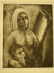 Shulamith Wittenberg Miller. <em>Therefore I Also Have Lent Him to the Lord</em>, 1963. Etching on paper, image: 10 x 8 in. (25.4 x 20.3 cm). Brooklyn Museum, A. Augustus Healy Fund, 65.29.2. © artist or artist's estate (Photo: Brooklyn Museum, CUR.65.29.2.jpg)