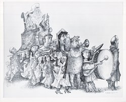 Mitchell Siporen (American, 1810-1976). <em>Sacred Procession</em>, 1950. Ink on paper, 20 1/2 x 25 in. (52.1 x 63.5 cm). Brooklyn Museum, Gift of Dr. Abram Kanof, 66.133.1. © artist or artist's estate (Photo: Brooklyn Museum, CUR.66.133.1.jpg)
