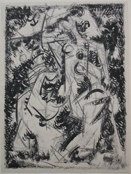 Carl Holty (American, 1900-1973). <em>Untitled</em>, 1951. Ink and crayon on paper, sheet: 12 x 9 in. (30.5 x 22.9 cm). Brooklyn Museum, Gift of Mrs. J. B. Neumann, 66.134.1. © artist or artist's estate (Photo: Brooklyn Museum, CUR.66.134.1.jpg)