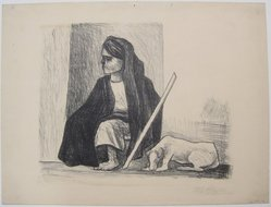 Pablo O'Higgins (American, 1904-1983). <em>Peasant and Dog</em>, n.d. Lithograph on paper, sheet: 12 13/16 x 16 7/8 in. (32.5 x 42.9 cm). Brooklyn Museum, Gift of Mr. and Mrs. Gustave Gilbert, 66.199.12. © artist or artist's estate (Photo: Brooklyn Museum, CUR.66.199.12.jpg)