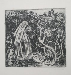 Lola Cueto (Mexican, 1897-1978). <em>Mexican Woman in Forest</em>. Etching (soft ground) Brooklyn Museum, Gift of Mr. and Mrs. Gustave Gilbert, 66.199.2. © artist or artist's estate (Photo: Brooklyn Museum, CUR.66.199.2.jpg)