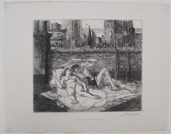 John Sloan (American, 1871-1951). <em>Sunbathers on the Roof</em>, 1941. Etching on laid paper, image: 5 7/8 x 6 15/16 in. (15 x 17.6 cm). Brooklyn Museum, Gift of Mrs. Harold J. Baily, 67.27.10. © artist or artist's estate (Photo: Brooklyn Museum, CUR.67.27.10.jpg)