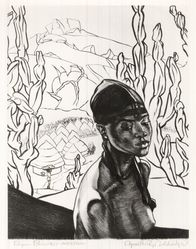 Cyrus LeRoy Baldridge (American, 1889-1975). <em>Pagan Princess - Nigeria</em>, 1938. Etching on laid paper, 10 3/4 x 8 1/2 in. (27.3 x 21.6 cm). Brooklyn Museum, Gift of Mrs. Harold J. Baily, 67.27.13. © artist or artist's estate (Photo: Brooklyn Museum, CUR.67.27.13.jpg)