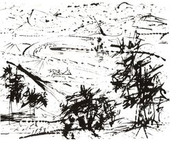 Salvadore Dalí (Spanish, 1904-1989). <em>Landscape</em>, 1958. Drawing in ink on wove card stock paper, 4 1/2 x 5 5/8 in. (11.4 x 14.3 cm). Brooklyn Museum, Bequest of Laura L. Barnes, 67.29.3. © artist or artist's estate (Photo: Brooklyn Museum, CUR.67.29.3.jpg)