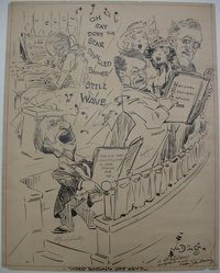 Jay Darling (American, 1876-1962). <em>Who's Singing Off Key?</em>, 1933. Ink over graphite on paper, sheet: 28 11/16 x 22 5/8 in. (72.9 x 57.5 cm). Brooklyn Museum, Gift of Mrs. Harold J. Baily, 67.62.9. © artist or artist's estate (Photo: Brooklyn Museum, CUR.67.62.9.jpg)